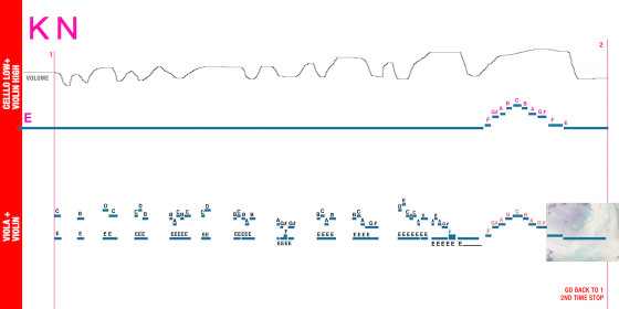 """A graphic score made by Vantzou for """"Kol Nidre"""""""