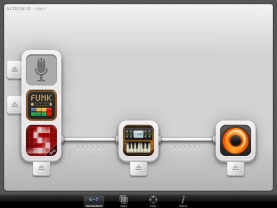 Only Connect: An example of how the Audiobus app allows for routing sound between apps, something not inherent in the iOS operating system