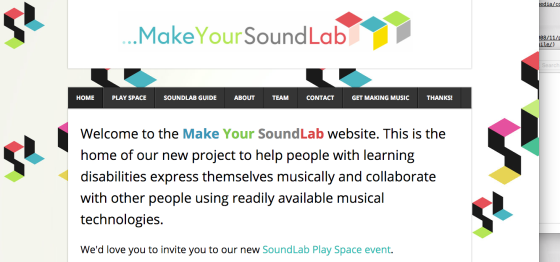 Audio Access: The web homepage of SoundLab, where Elsdon is a producer and project advisor